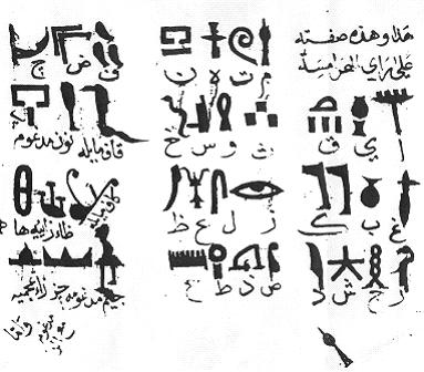Ibn Wahshiyya's translation of the Ancient Egyptian hieroglyph alphabet Ibn Wahshiyya's 985 CE translation of the Ancient Egyptian hieroglyph alphabet.jpg