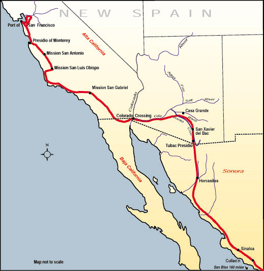 Map of the route that Juan Bautista de Anza traveled in 1775-76 from Mexico to today's San Francisco Juba map.jpg