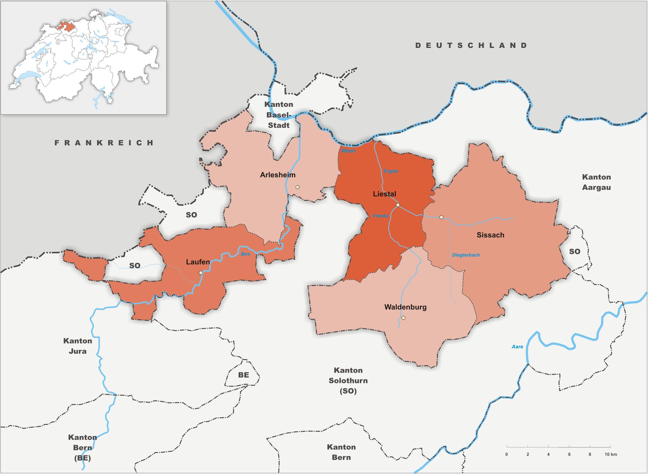 Bezirke des Kantons Basel-Landschaft
