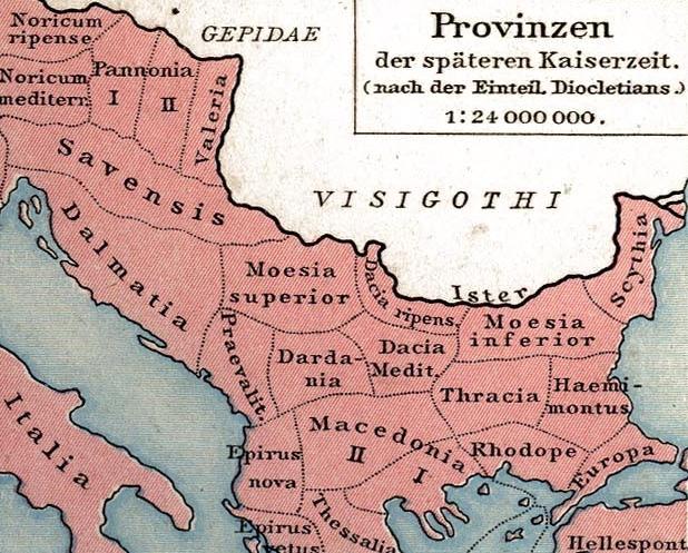 Description late roman province thracia outcut from roman provinces of