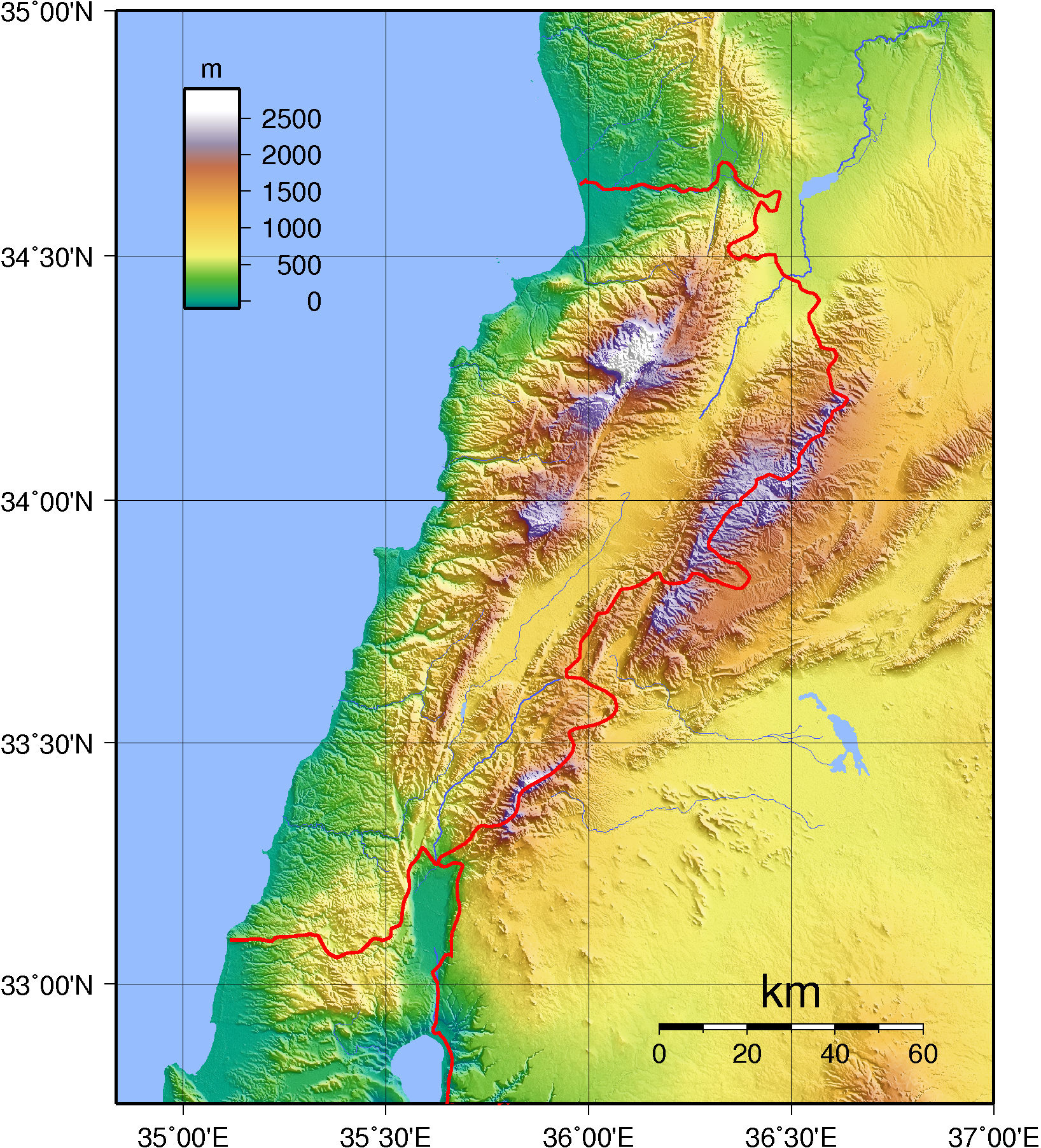 Description lebanon topography