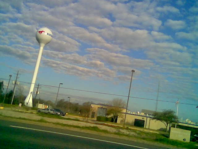 Mustangs water tower at Madison County Jail 2010 tilted.jpg