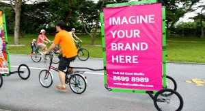 Mobile Billboard in East Coast Park, Singapore Mobile Bicycle Billboard from Singapore, April 9 2013.jpg