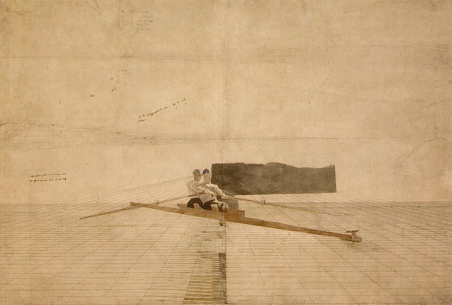 Perspective drawing for the pair-oared shell thomas eakins