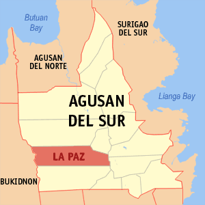 Map of Agusan del Sur showing the location of La Paz