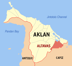 Map of Aklan showing the location of Altavas