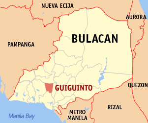 Map of Bulacan showing the location of Guiguinto