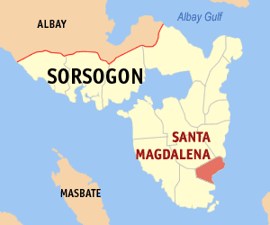 Map of Sorsogon showing the location of Santa Magdalena