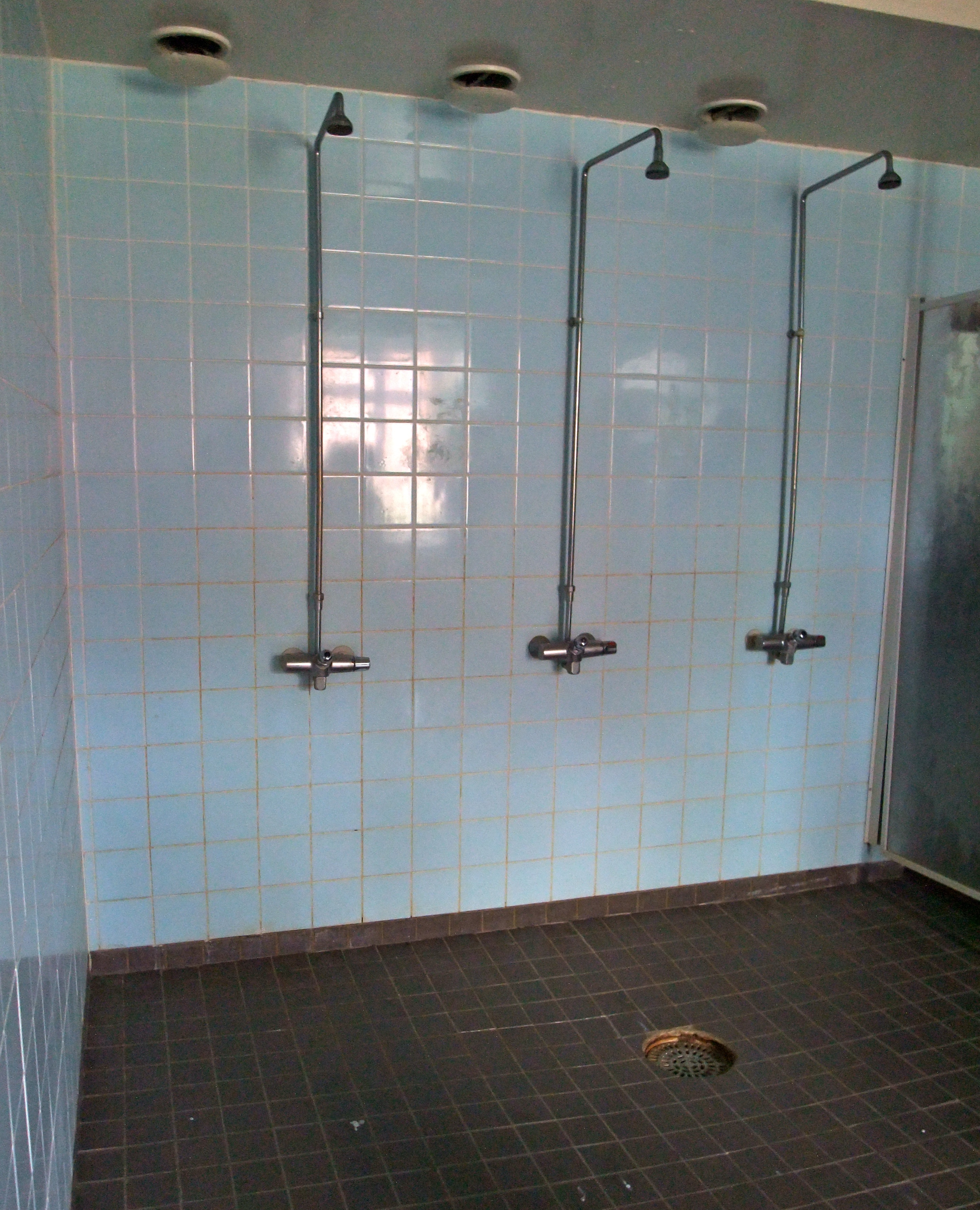 Shower Rooms With Wood Affect Walls