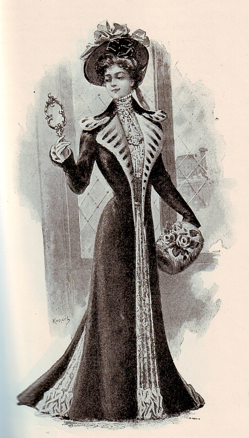 Old-fashioned illustration of a redingote