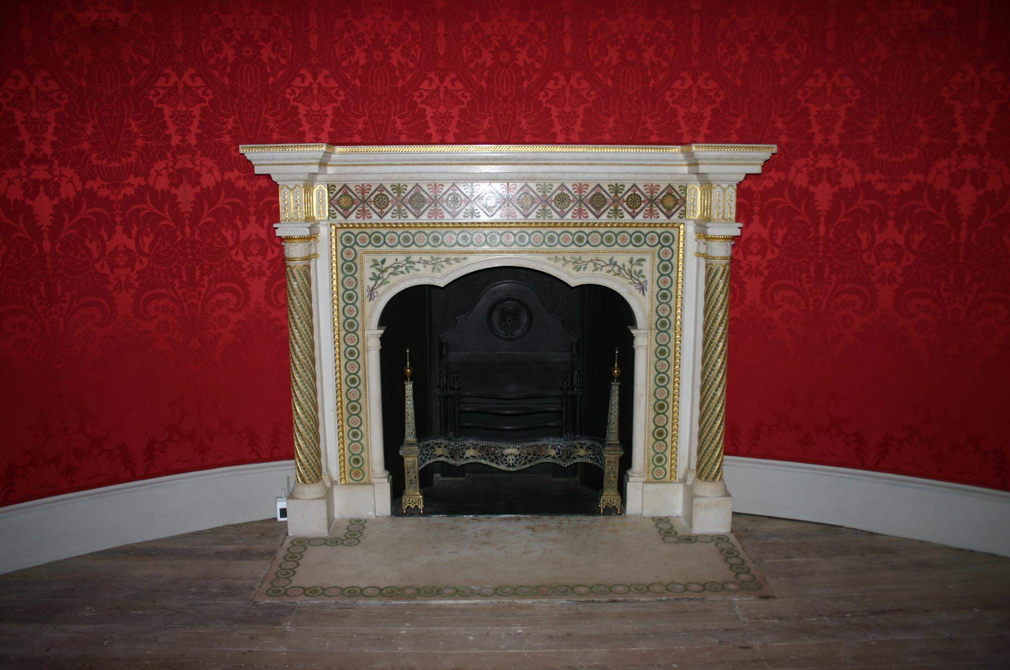 description robert adam fireplace round room strawberry