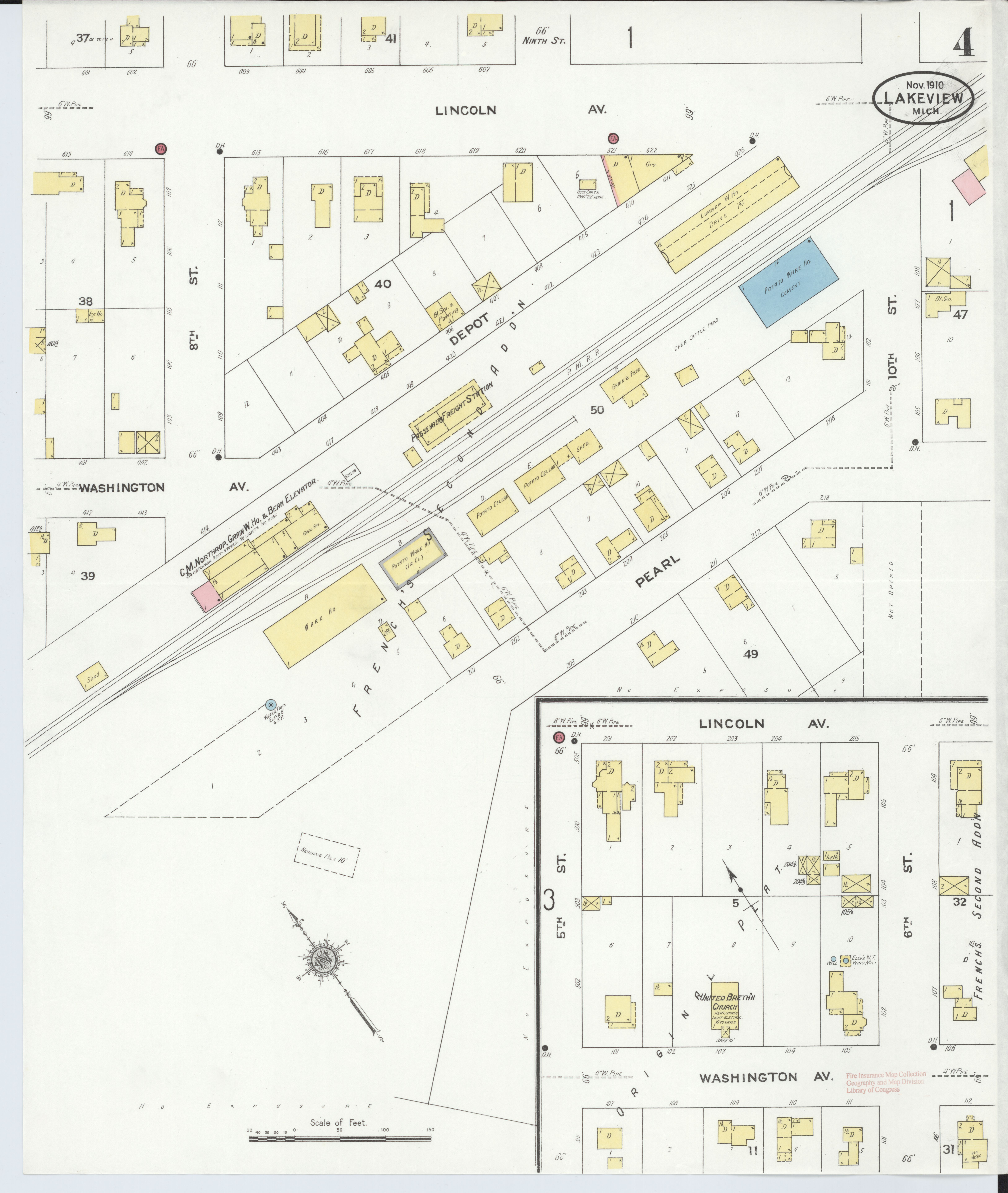 Lakeview Michigan Map.File Sanborn Fire Insurance Map From Lakeview Montcalm County