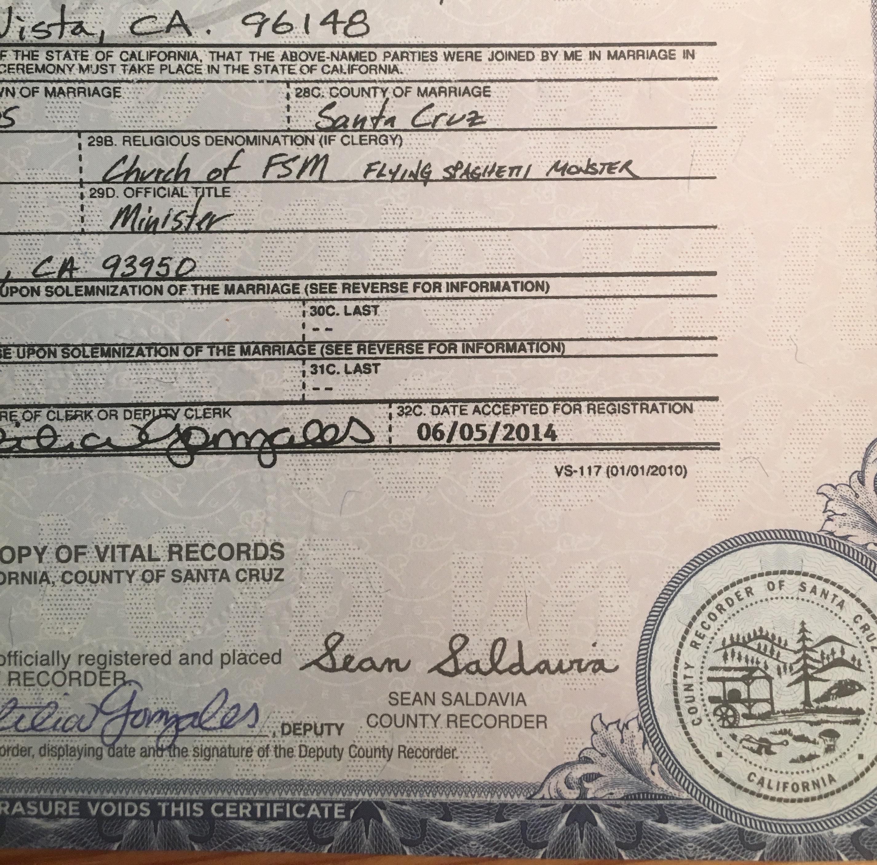 marriage certificate california cruz santa
