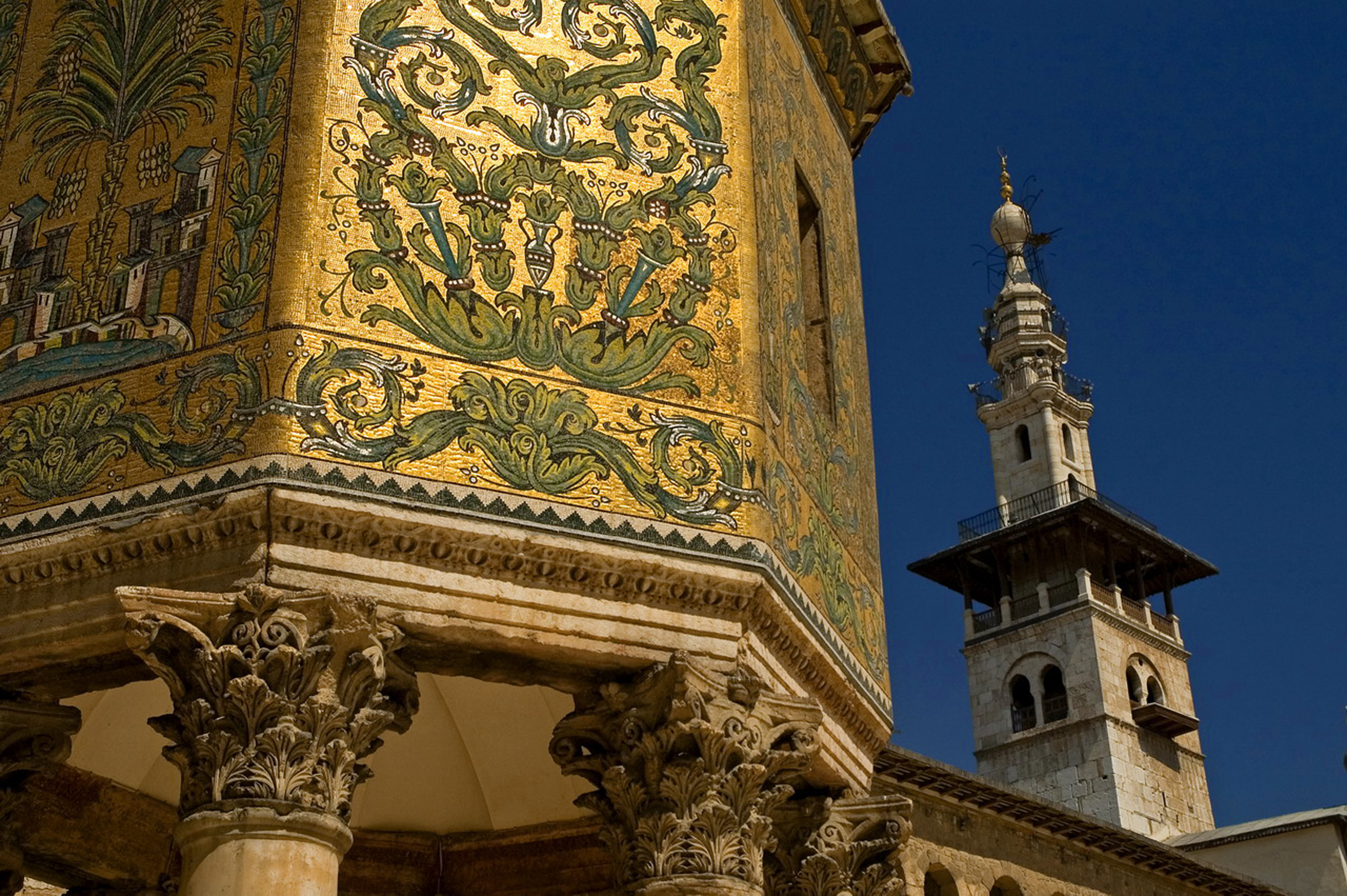 The most beautiful mosques to visit: The Great Umayyed Mosque of Damascus, Syria, and Khazne
