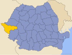 Administrative map of Руминия with Тимиш county highlighted