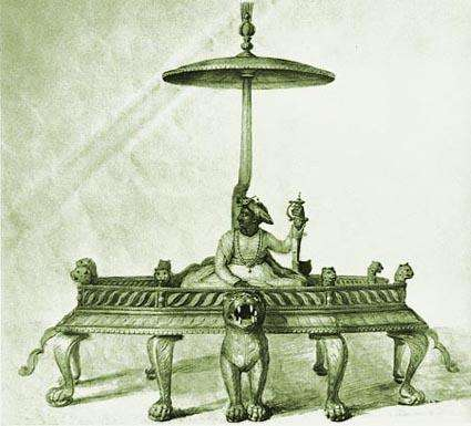 Tipu Sultan seated on his throne, by Anna Tonneli Tipu Sultan seated on his throne.jpg