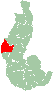 Map of former Toliara Province showing the location of Morombe (red).
