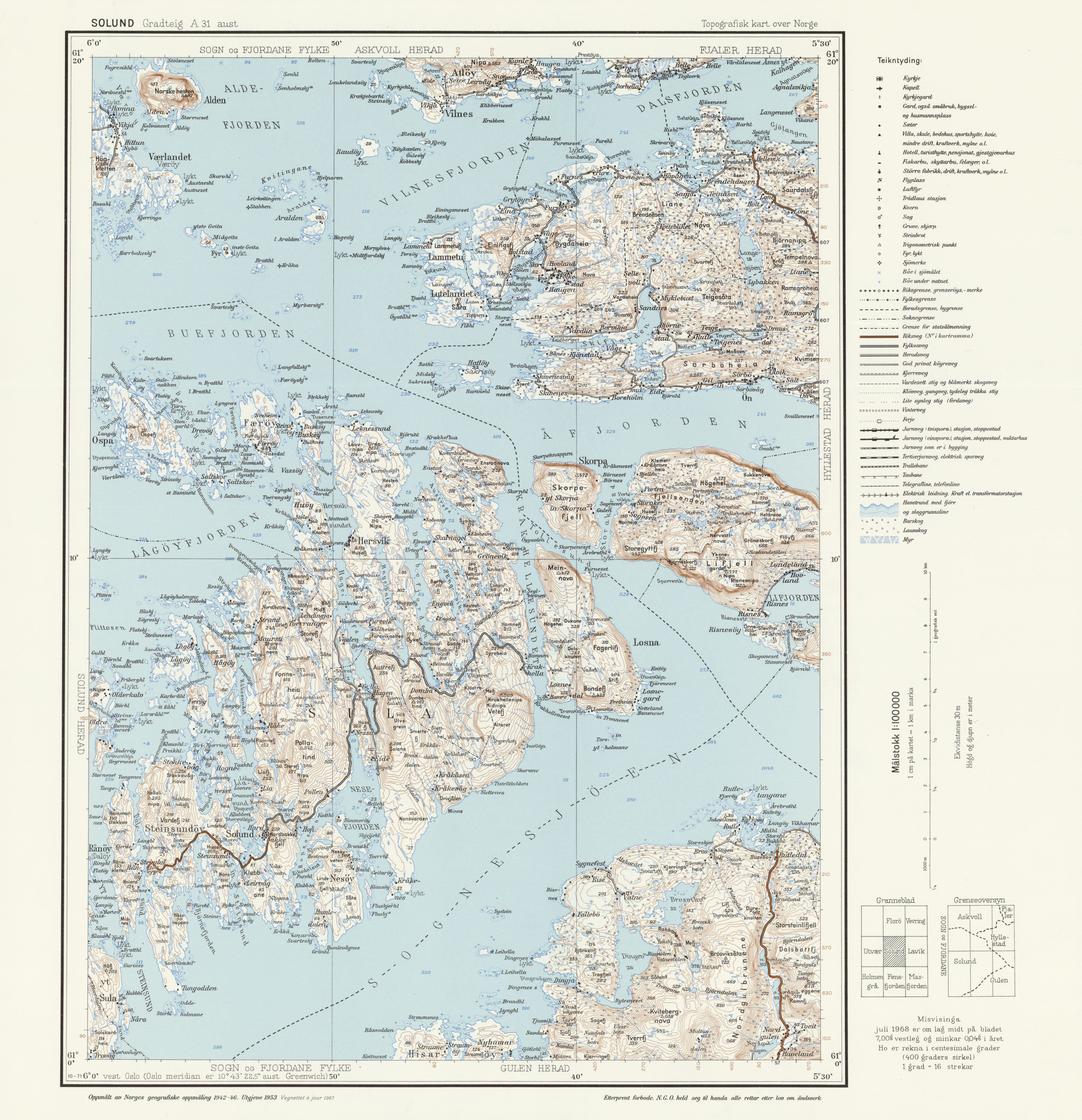 Topographic Map Of Norway.File Topographic Map Of Norway A31 Aust Solund 1967 Jpg
