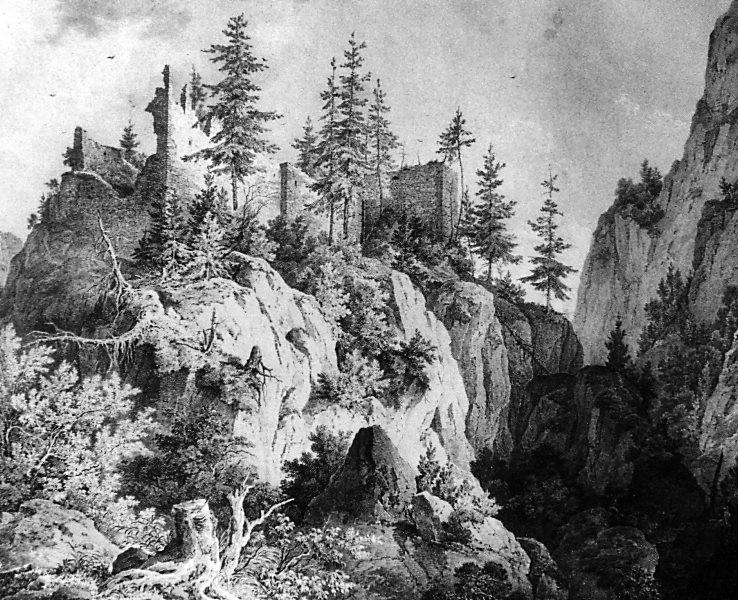 Ruínas de Vorderhohenwchwangau (1835 Domenico Quaglio)