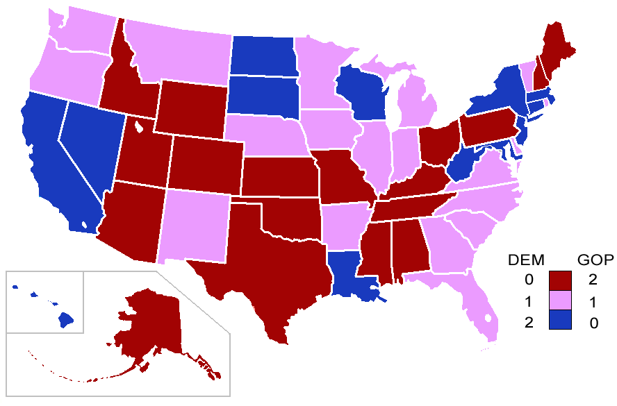 Political Maps Blog Current US Senate Map Classes Of United - Us beer map red robin
