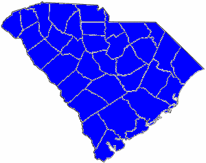 1884 South Carolina gubernatorial election map, by percentile by county.   65+% won by Thompson