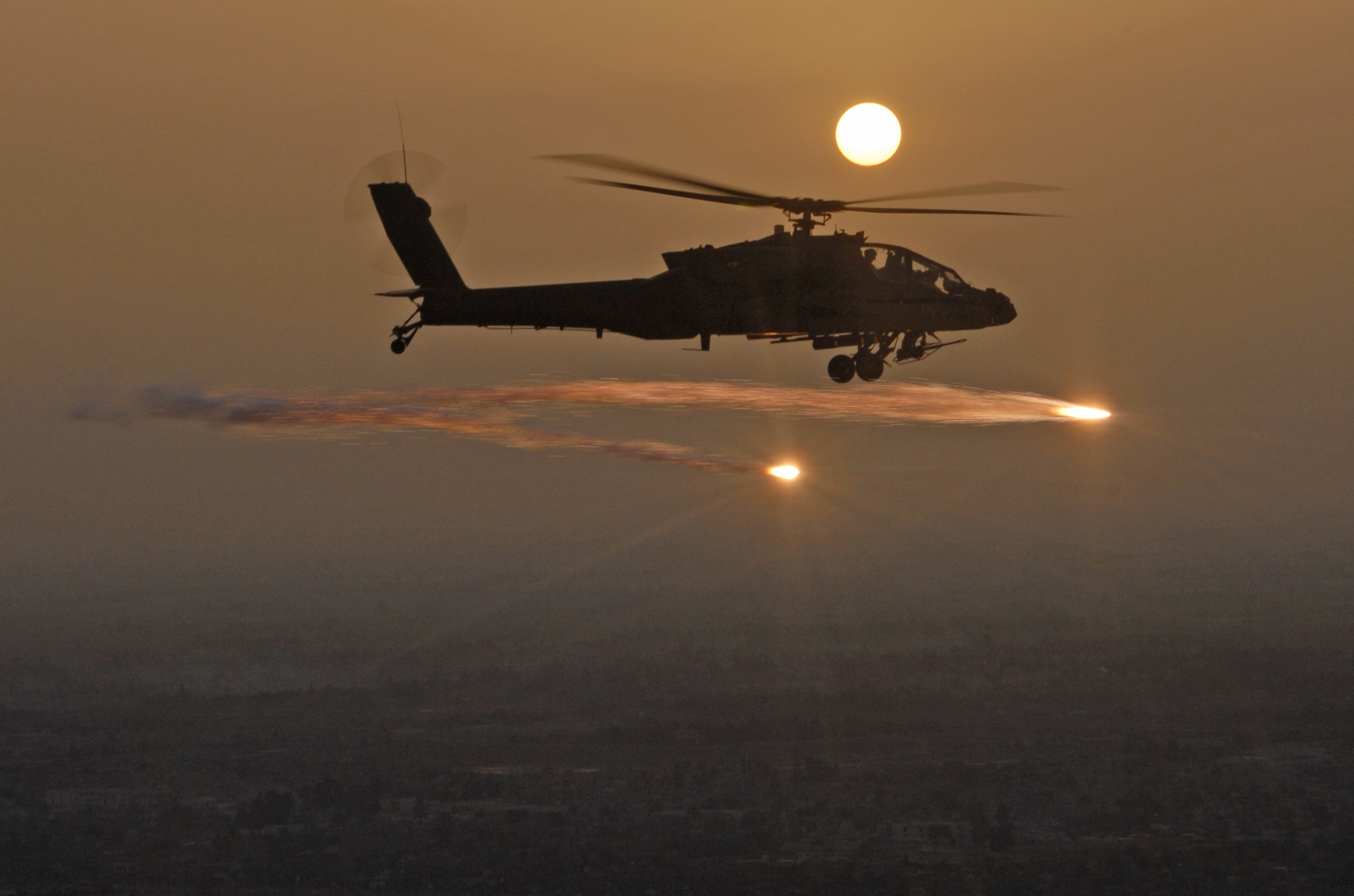 AH-64 Apache Helicopter Firing
