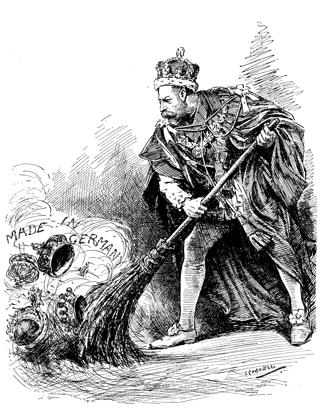 George V of the United Kingdom sweeping away the German titles held by his family. The picture was made after the King decided to abolish all German titles and rename his house from Saxe-Coburg-Gotha to Windsor.