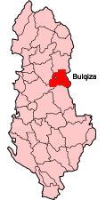 Map showing Bulqize within Albania