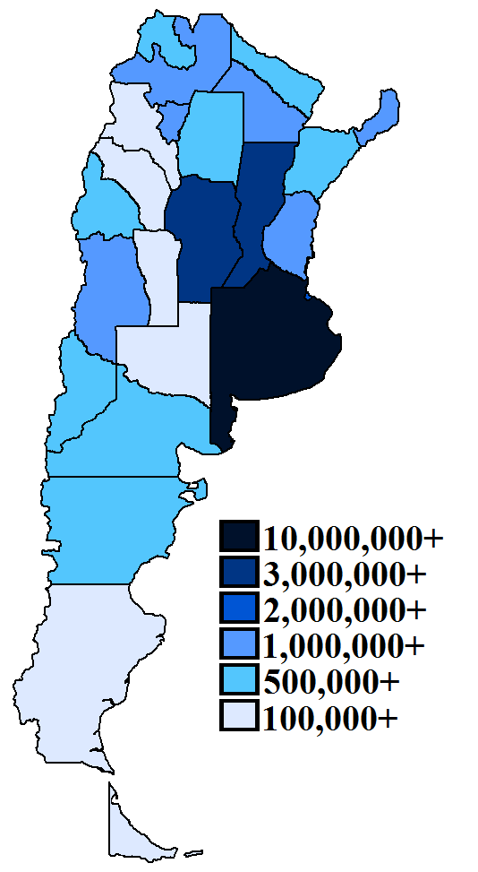List Of Argentine Provinces By Population Wikipedia - Argentina map by province
