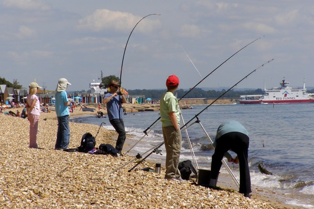 File Beach Fishing Stanswood Bay Geograph Org Uk