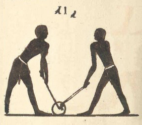 reproduction of a mural at Beni Hasan depicting what appears to be a hockey sport - History of Hockey