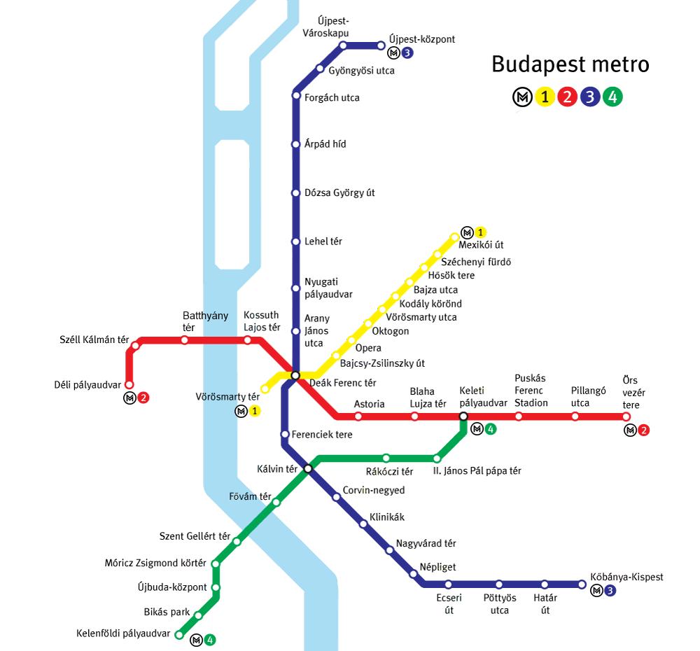 Réseau de métro à Budapest.