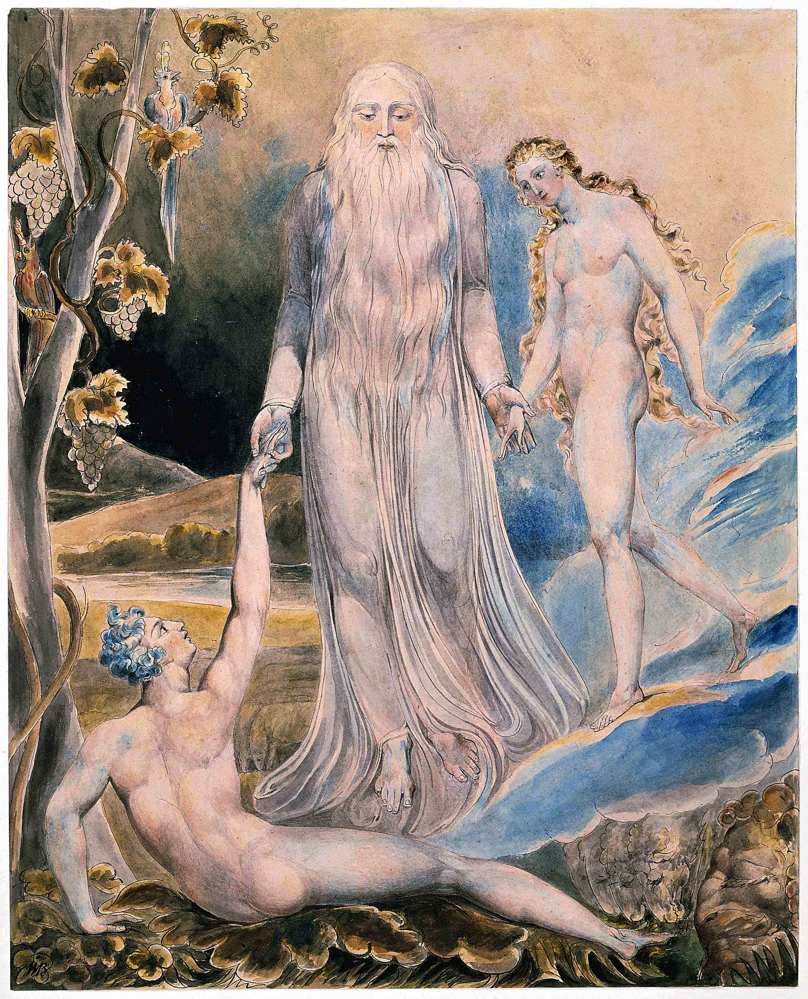 """William Blake's pencil illustration of The Creation of Eve in response to the line """"And She Shall Be Called Woman"""". The object was created c. 1803-05 and currently is held by the Metropolitan Museum of Art [5]"""