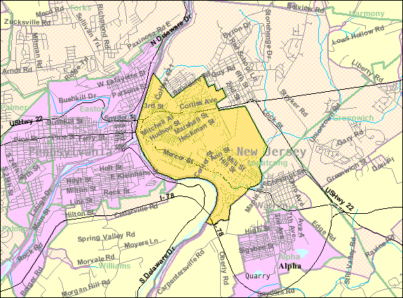 Census Bureau map of Philipsburg, New Jersey