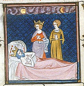 14th-century depiction of the death of Charles Martel Charles Martel bad.jpg