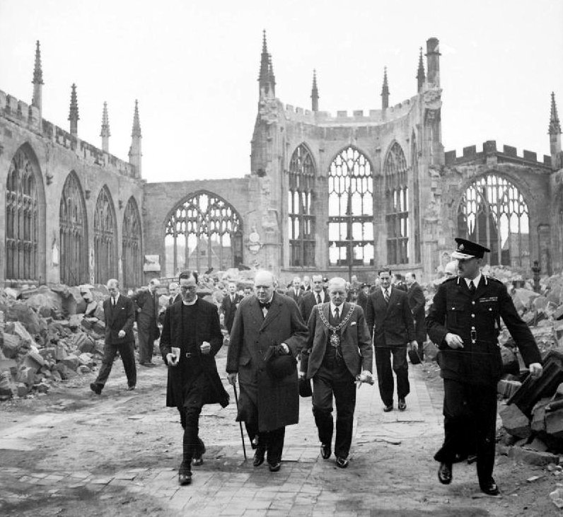 Churchill in the ruins of Coventry Cathedral