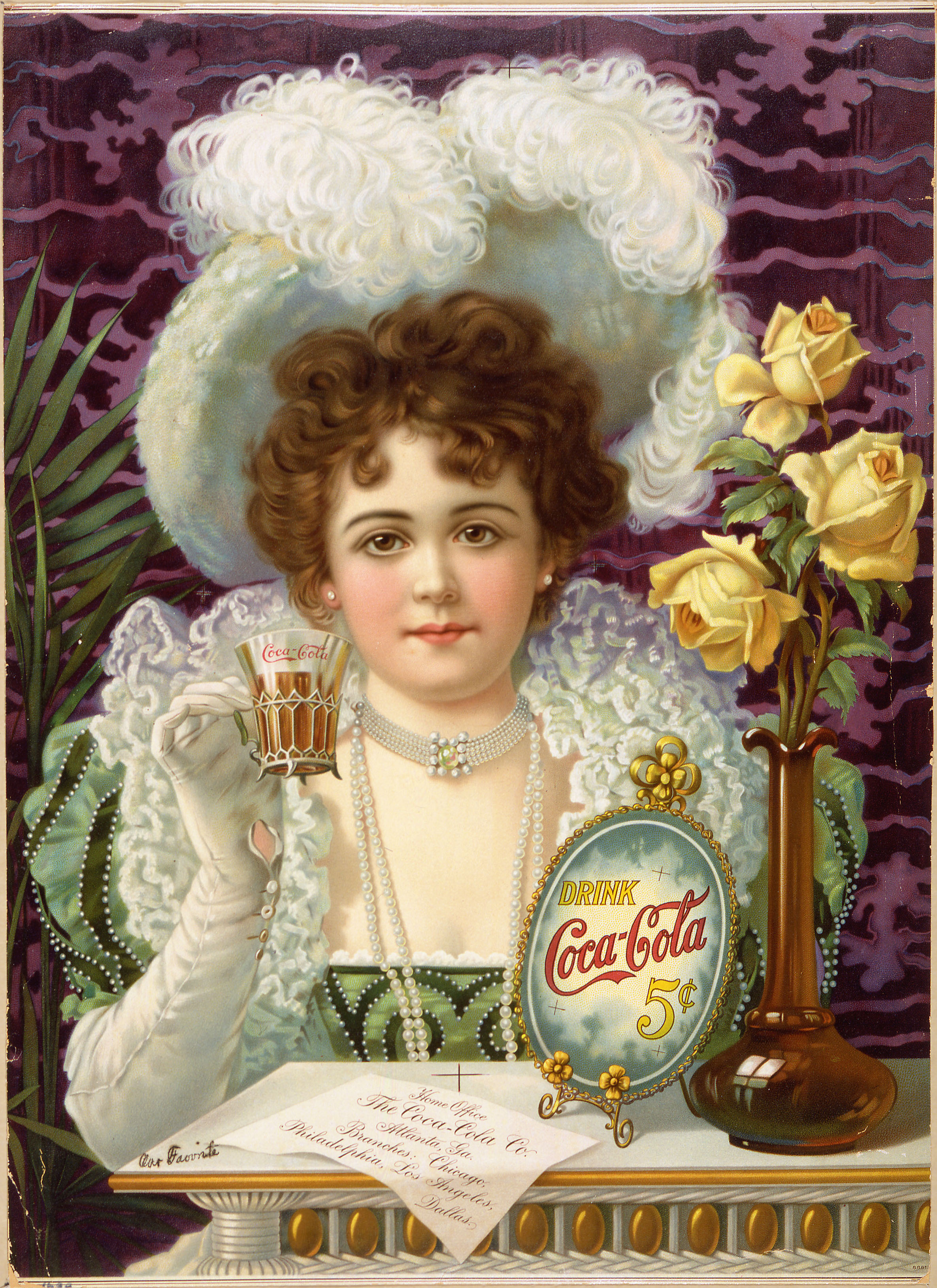 An 1890s advertising poster showing a woman in fancy clothes (partially vaguely influenced by 16th- and 17th-century styles) drinking Coke.
