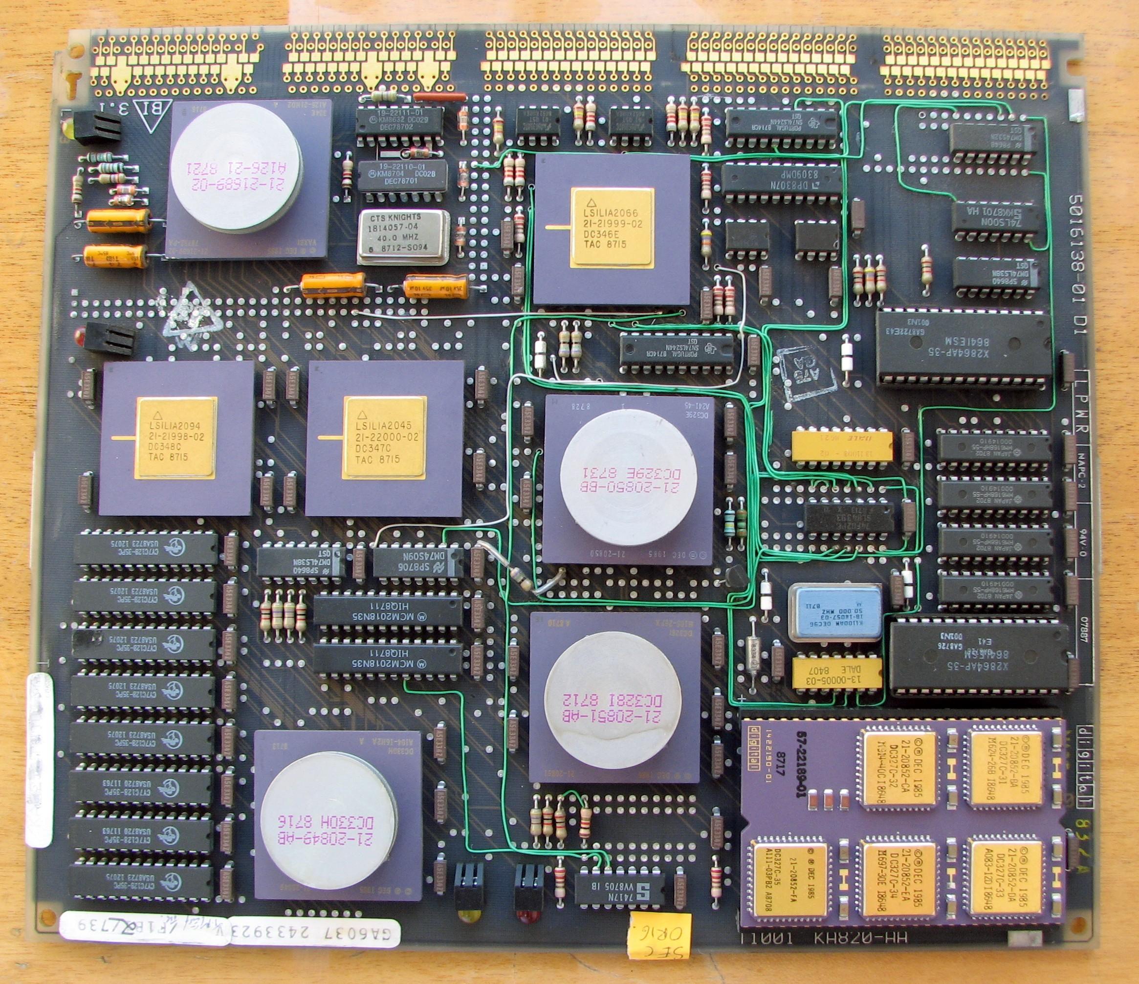 A KA820-AA CPU module from a VAX 8200 minicomputer containing a V-11 microprocessor chip set