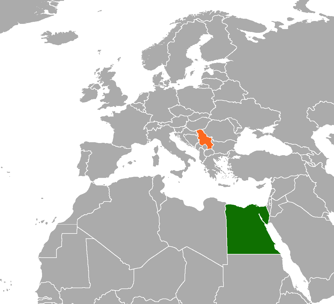 Map indicating locations of Egypt and Serbia