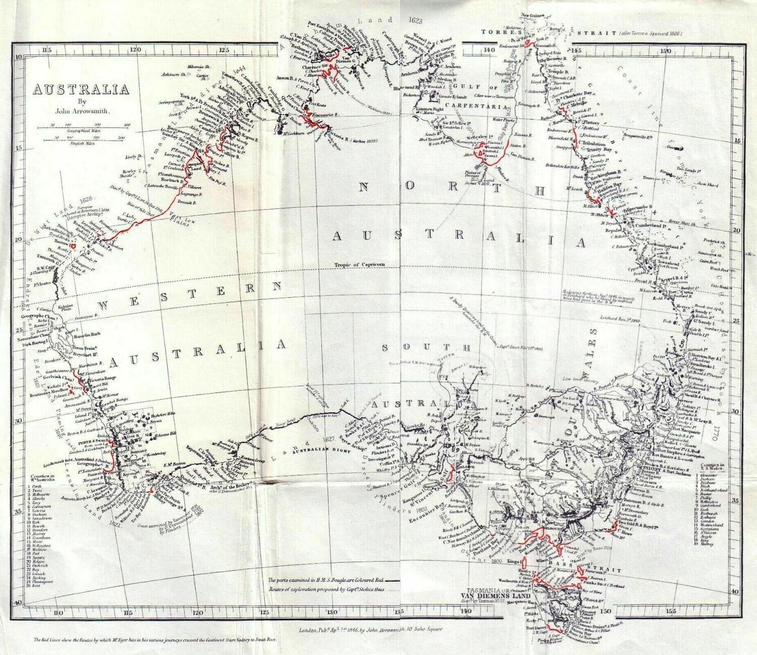 Tablecloth Size Chart: General Chart of Australia (Discoveries in Australia).jpg ,Chart