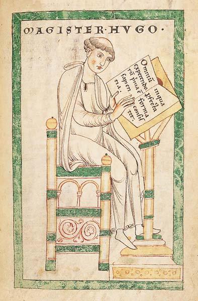 Hugues de Saint-Victor rédige le Didascalicon - Parchemin. Vucanius 45, f° 130 (Leyde, Bibliothek der Rijkuniversiteit)