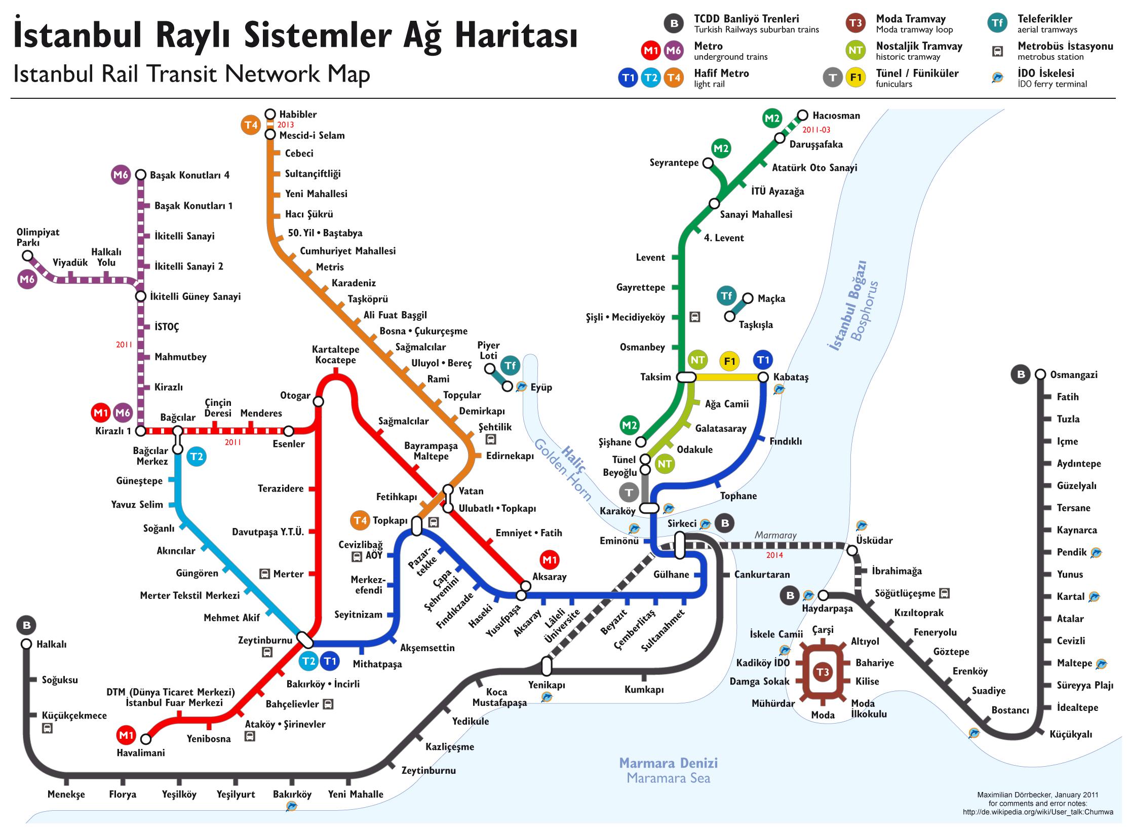 Mapa Transporte de Istambul
