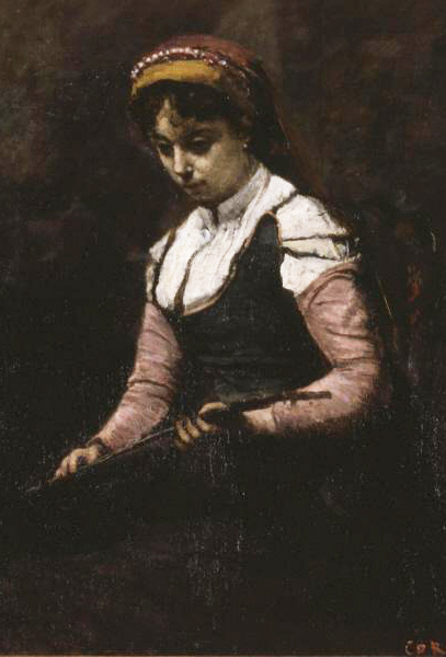 File:Jean-Baptiste-Camille Corot, 1860–65, Girl with Mandolin, oil on canvas, 51.4 x 40.3 cm, Saint Louis Art Museum (cropped).jpg