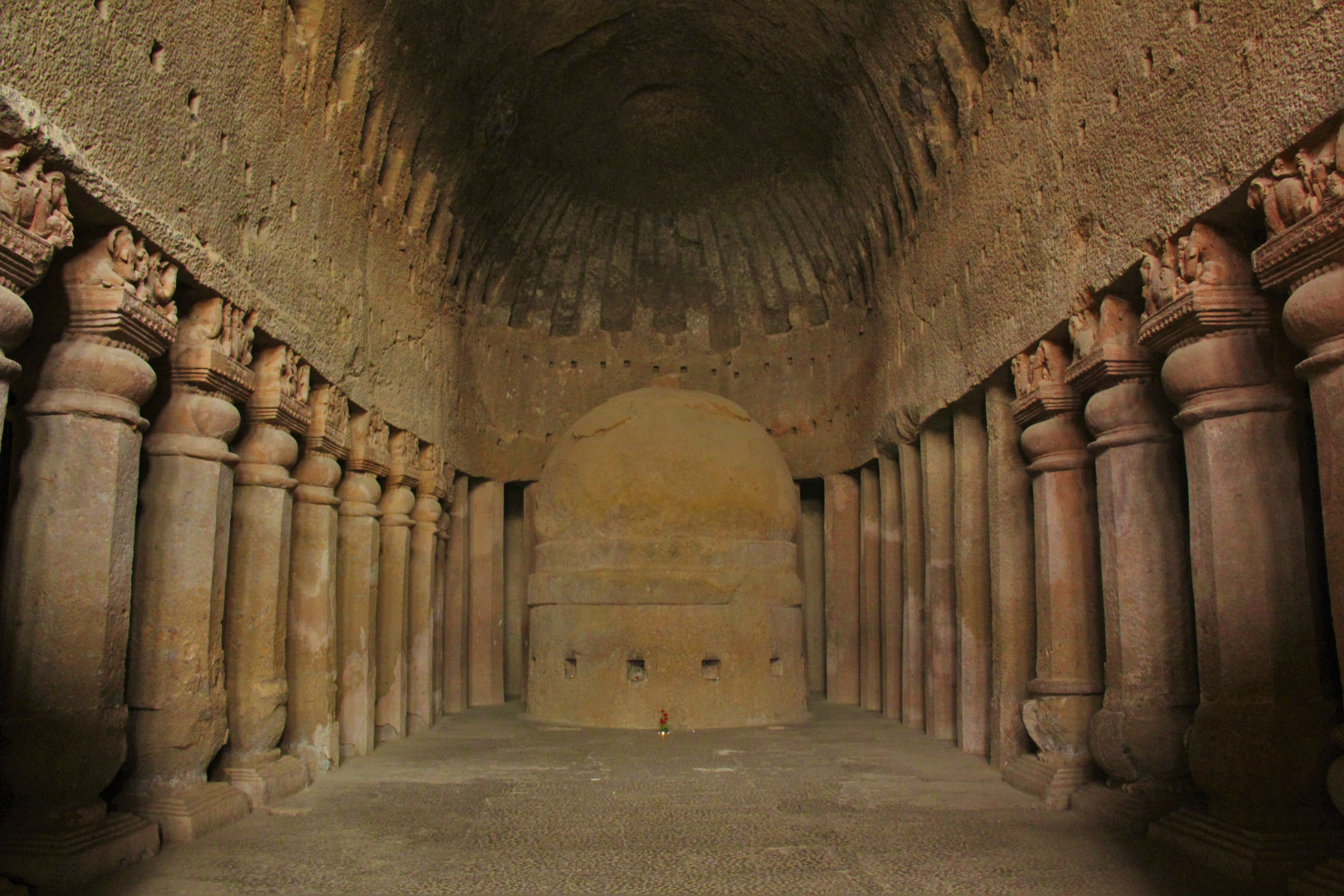 Prayer hall with Stupa in cave 03 of Kanheri Caves