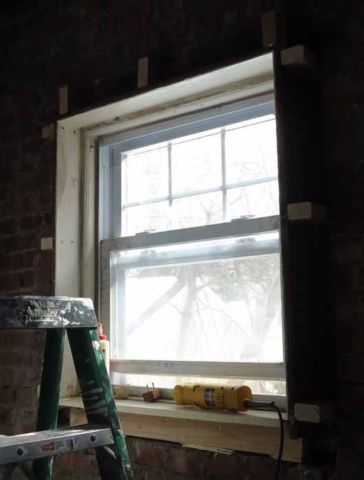 File:Kitchen renovation old window frame removed new blocks for new ...