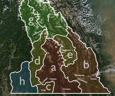 Various permutations of the boundaries of the Kootenays