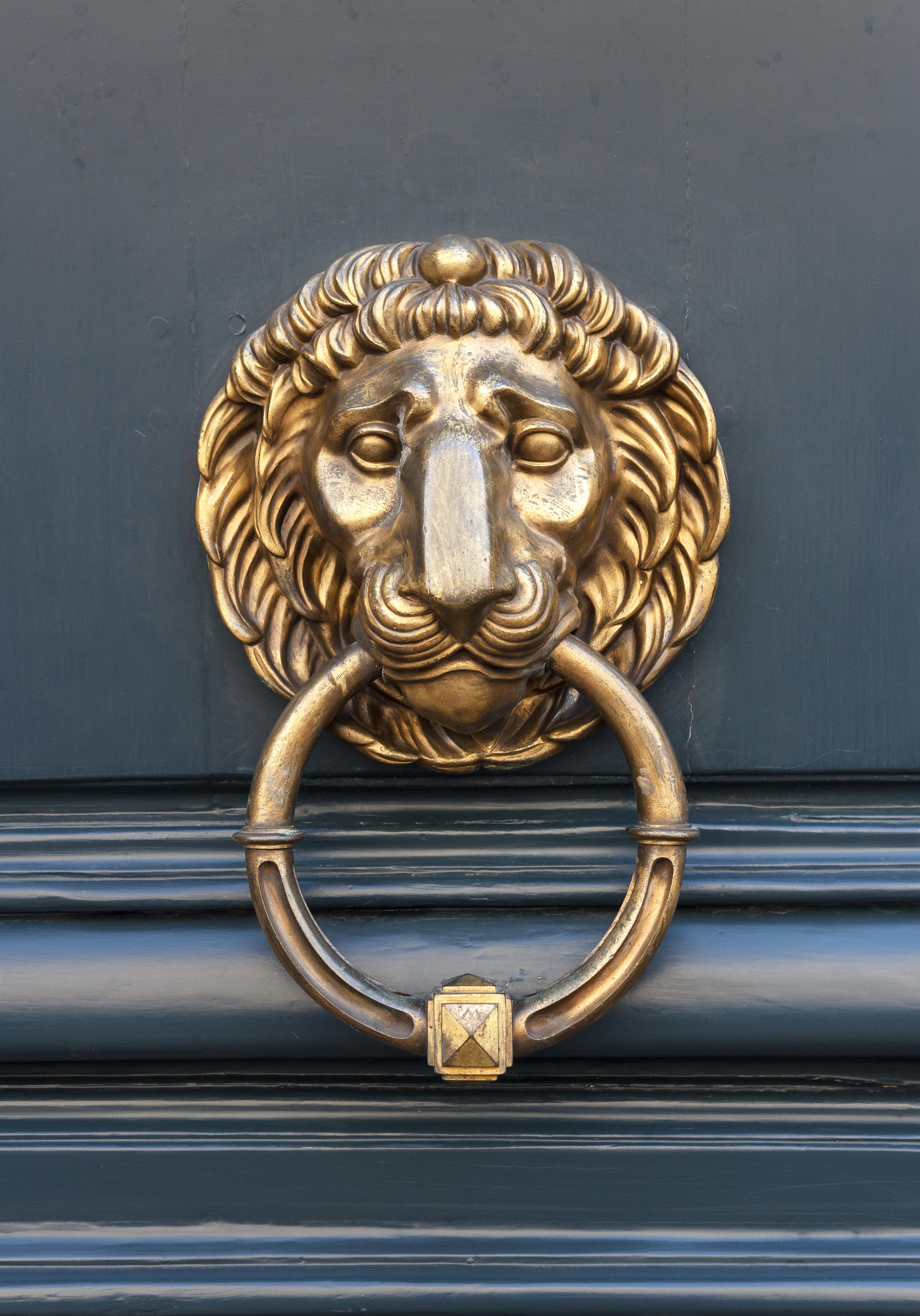 File:Lion Head Brass Door Knocker Central Paris 2012 06 01