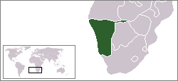 Map of Namibia and surrounding countries in southern Africa