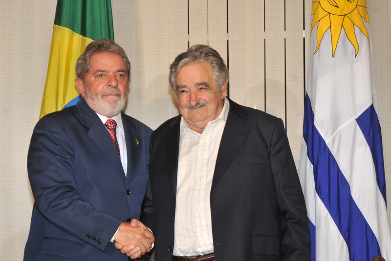 José Mujica (President from 2010–2015) with then-President of Brazil Lula da Silva in 2010.