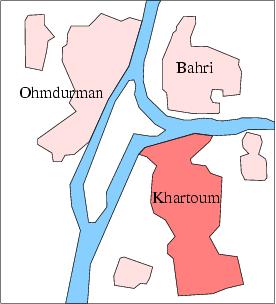 صورة تظهر شكل عاصمة السودان - الخرطوم